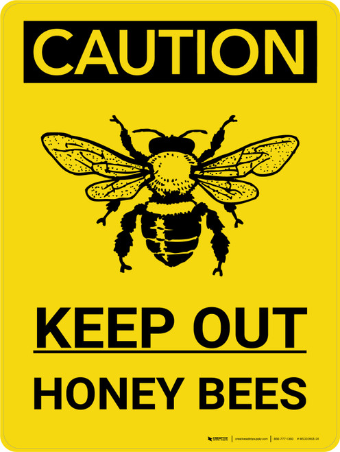 Caution: Keep Out Honeybees Portrait With Icon - Wall Sign