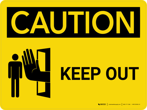 Caution: Keep Out Landscape With Icon - Wall Sign