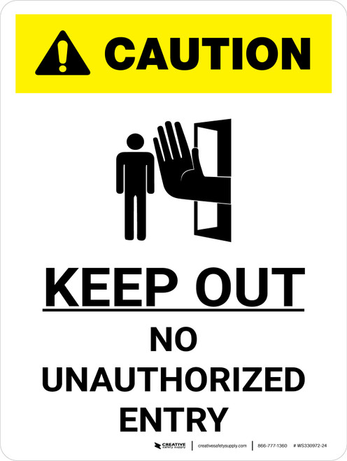 Caution: Keep Out White Portrait With Icon - Wall Sign