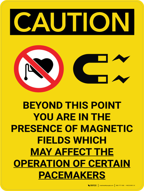 Caution: Magnetic Fields Beyond This Point May Affect Pacemakers Portrait With Icons - Wall Sign