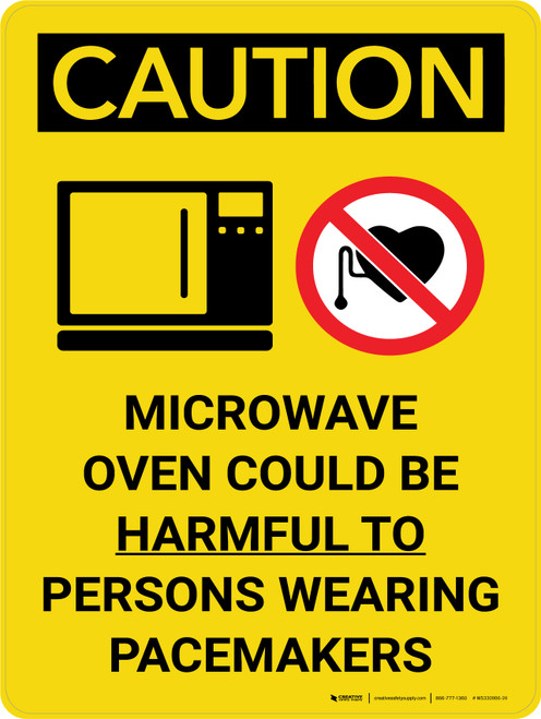 Caution: Microwave Oven Could be Harmful to Persons Wearing Pacemakers Portrait With Icon - Wall Sign