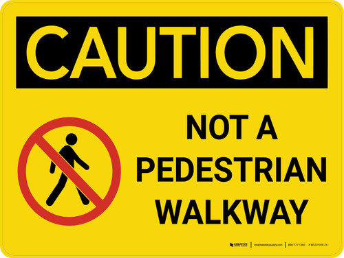 Caution: Not A Pedestrian Walkway Landscape With Icon - Wall Sign