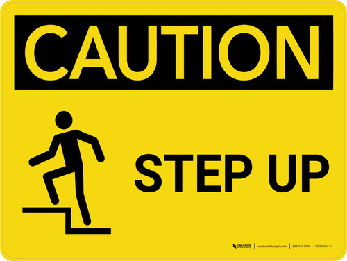 Caution: Step Up Landscape With Icon - Wall Sign