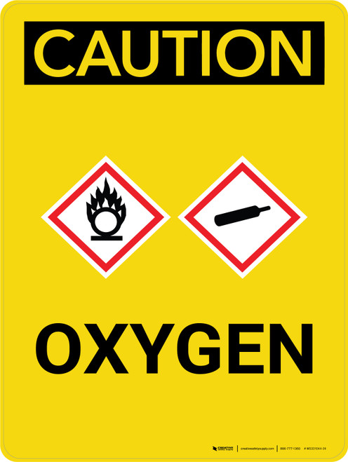 Caution: Oxygen Portrait With Icon - Wall Sign