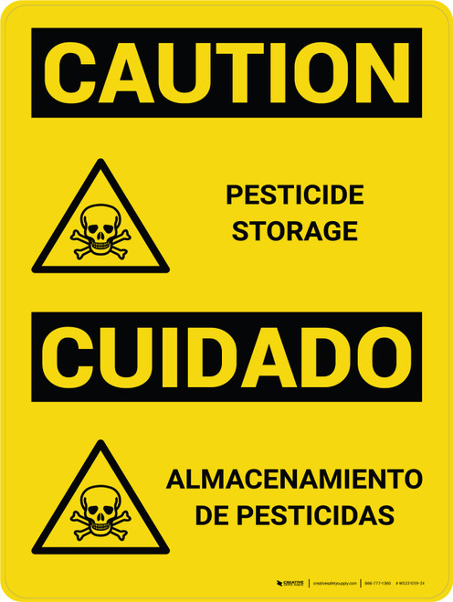 Caution: Pesticide Storage Bilingual Spanish With Icons - Wall Sign