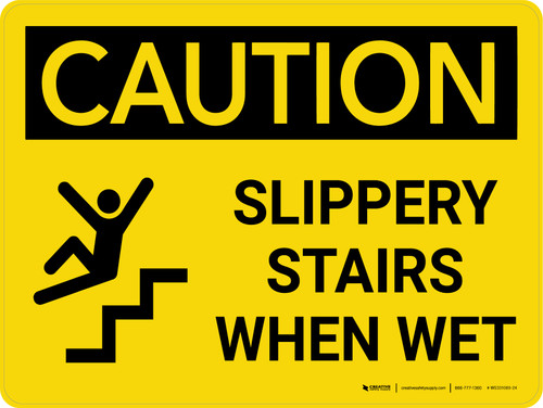 Caution: Slippery Stairs When Wet Landscape With Icon - Wall Sign