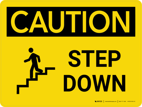 Caution: Step Down Yellow Landscape With Icon - Wall Sign