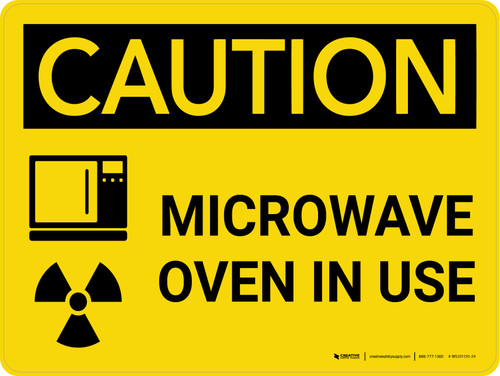 Caution: Microwave Oven In Use Landscape With Icon - Wall Sign