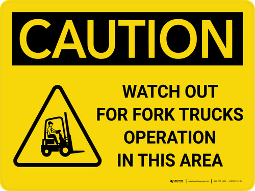 Caution: Watch Out Fork Truck Operation Area Landscape With Icon - Wall Sign