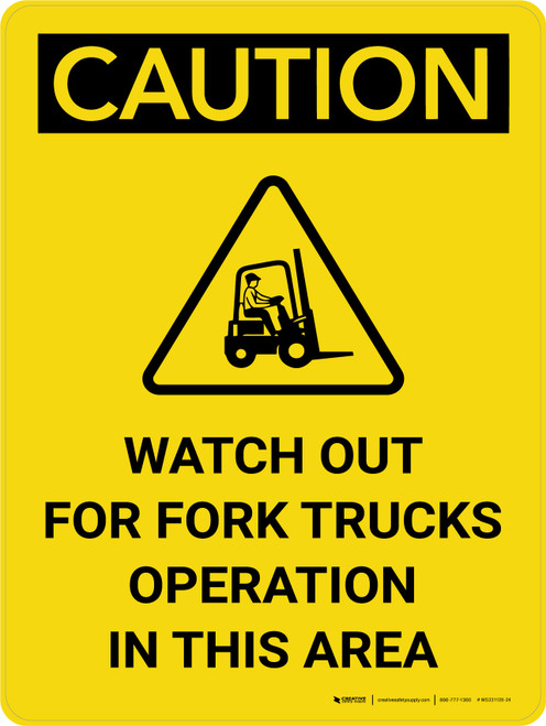 Caution: Watch Out Fork Truck Operation Area Portrait With Icon - Wall Sign