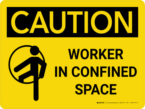 Caution: Worker In Confined Space Landscape With Icon - Wall Sign