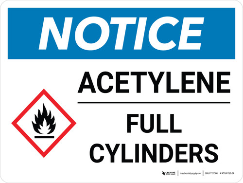 Notice: Acetylene Full Cylinders Landscape with Icon - Wall Sign