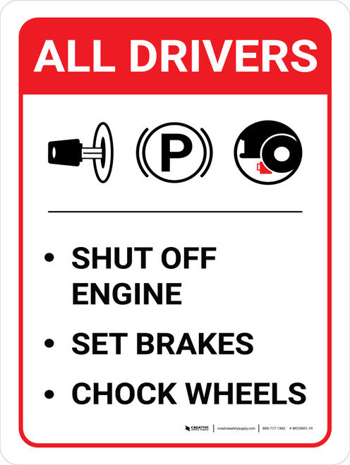 All Drivers: Shut Off Engine Set Brakes Chock Wheels Portrait with Icon - Wall Sign