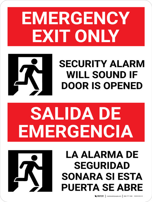 Emergency Exit Only Bilingual Spanish with Icon - Wall Sign
