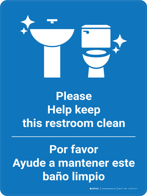 Keep Restroom Clean Bilingual Spanish With Icon Blue - Wall Sign