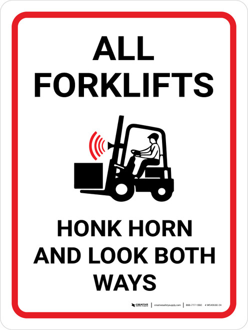 All Forklifts - Honk and Look Portrait with Icon - Wall Sign