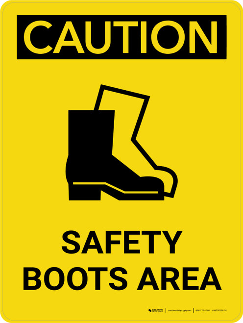 Caution: Safety Boots Area Portrait With Icon - Wall Sign