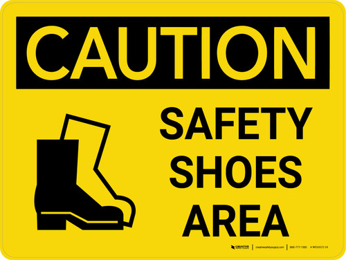 Caution: Safety Shoes Area Landscape With Icon - Wall Sign