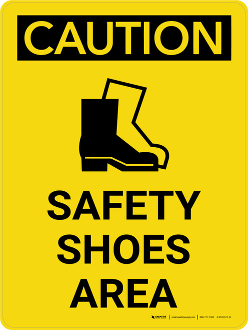 Caution: Safety Shoes Area Portrait With Icon - Wall Sign