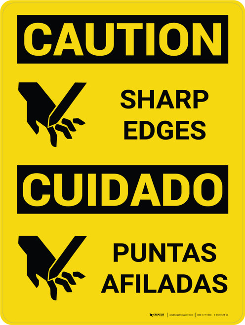 Caution: Sharp Edges Bilingual Spanish With Icons - Wall Sign