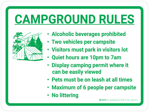 Campground Rules Landscape With Icon - Wall Sign