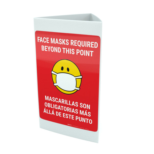 Face Masks Required Beyond This Point Bilingual with Facemask Emoji - Red - Tri-fold Sign