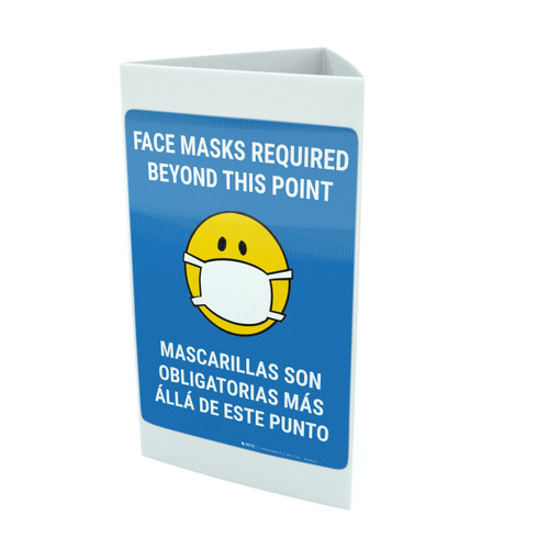 Face Masks Required Beyond This Point Bilingual with Facemask Emoji - Blue - Tri-fold Sign