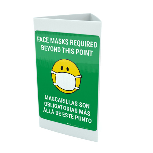 Face Masks Required Beyond This Point Bilingual with Facemask Emoji - Green - Tri-fold Sign