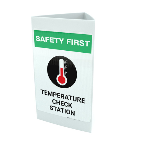 Safety First: Temperature Check Station with Icon Portrait - Tri-fold Sign