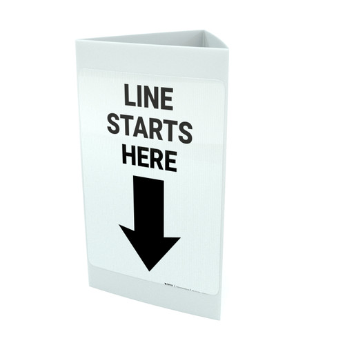 Line Starts Down Left Arrow Portrait - Tri-fold Sign
