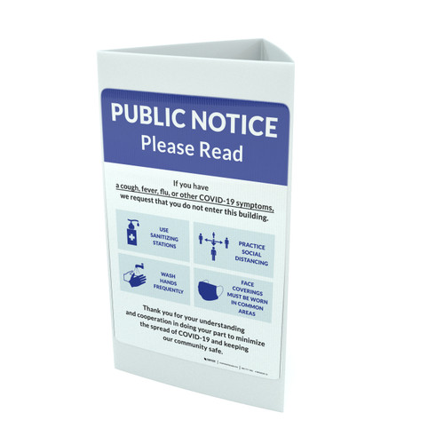 Public Notice: COVID-19 with Icons Blue Portrait - Tri-fold Sign