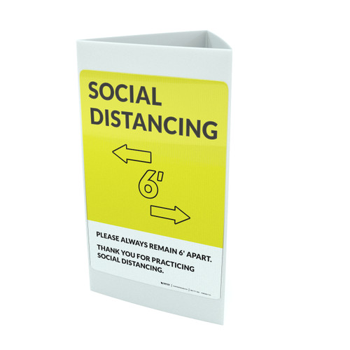 Social Distancing Please Always Remain 6' Apart with Icon Yellow Portrait - Tri-fold Sign
