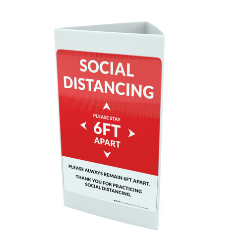 Social Distancing Please Stay 6Ft Apart Red Portrait - Tri-fold Sign