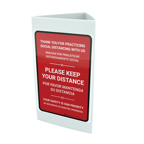 Thank You For Practicing Social Distancing With Us Red Bilingual Portrait - Tri-fold Sign
