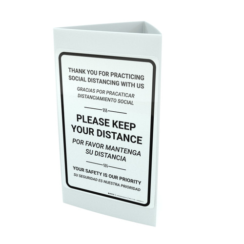 Thank You For Practicing Social Distancing With Us White Bilingual Portrait - Tri-fold Sign
