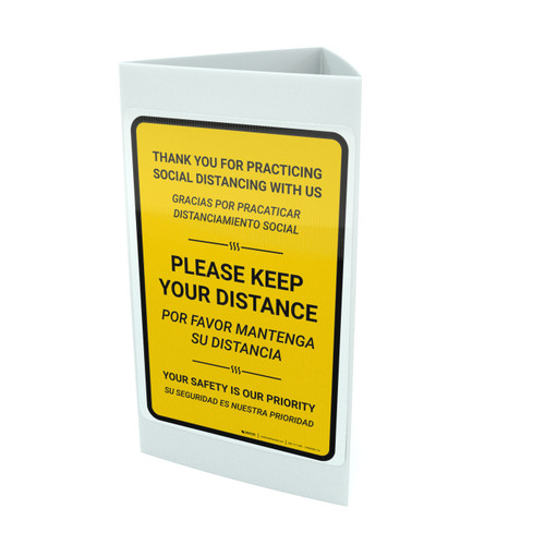 Thank You For Practicing Social Distancing With Us Yellow Bilingual Portrait - Tri-fold Sign