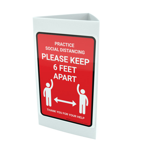 Practice Social Distancing Red - Please Keep 6Ft Apart Portrait - Tri-fold Sign