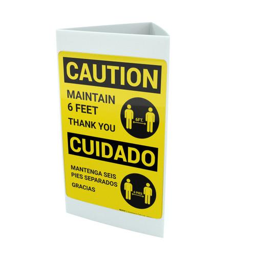 Caution: Maintain 6 Feet with Icon Bilingual Spanish Portrait - Tri-fold Sign