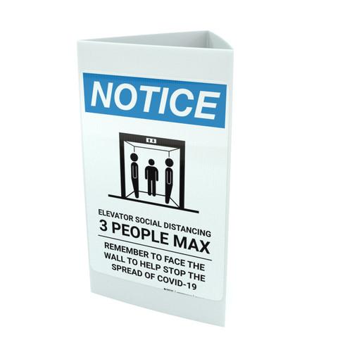 Notice: Elevator Social Distancing 3 People Max Portrait - Tri-fold Sign