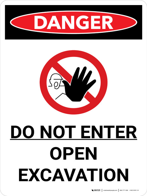 Danger: Do Not Enter Open Excavation Portrait with Graphic - Wall Sign