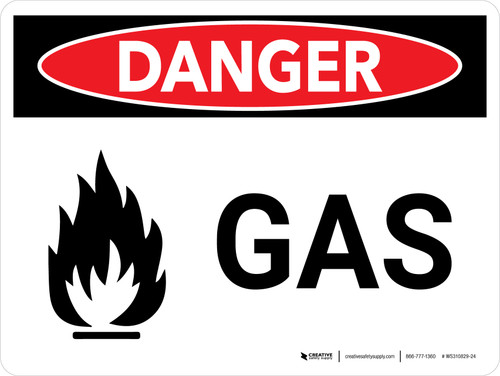 Danger: Gas Warning Landscape with Graphic - Wall Sign