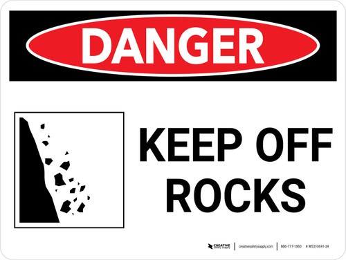 Danger: Keep Off Rocks Landscape with Graphic - Wall Sign