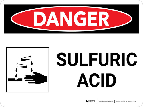 Danger: Sulfuric Acid Warning Landscape with Graphic - Wall Sign