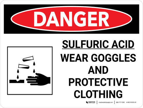 Danger: Sulfuric Acid Wear Goggles and Protective Clothing Landscape with Graphic - Wall Sign