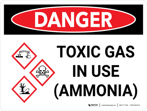 Danger: Toxic Gas Ammonia In Use Landscape with Graphic - Wall Sign