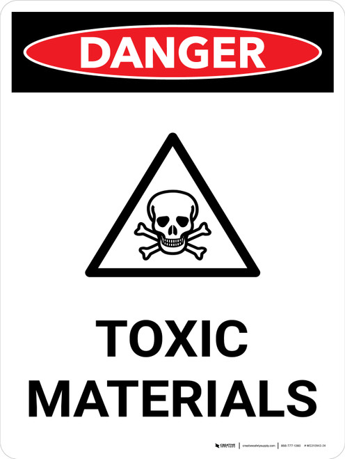 Danger: Toxic Materials Portrait with Graphic - Wall Sign
