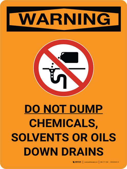 Warning: Do Not Dump Chemicals Solvents Oils Down Drain Portrait With Graphic