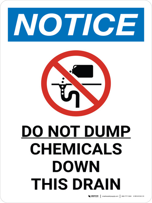 Notice: Do Not Dump Chemicals Down this Drain Portrait with Graphic