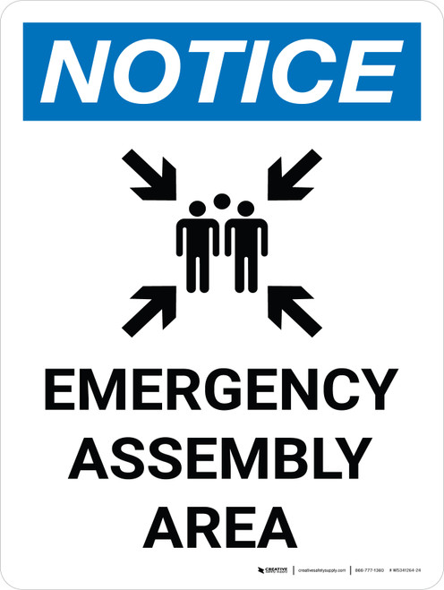 Notice: Emergency Assembly Area Portrait with Graphic