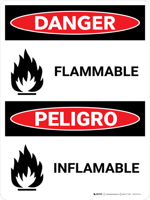 Danger: Flammable Bilingual with Graphic - Wall Sign